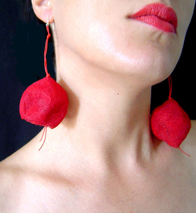 BEGONA RENTERO: Earrings Bergamo, red