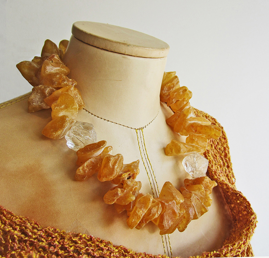 BARA: Necklace, Amber and Crystal