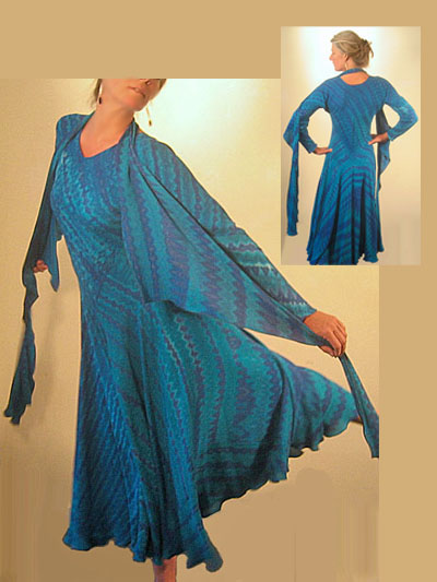 CARTER SMITH: Silk Shibori K Dress: Blue/Green, with Scarf