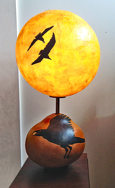 "L. WENDY DUNDER: Illuminated Sculpture ""Raven"""