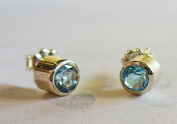 ROBIN HOMINIUK: Jewelry: Blue Topaz Earrings