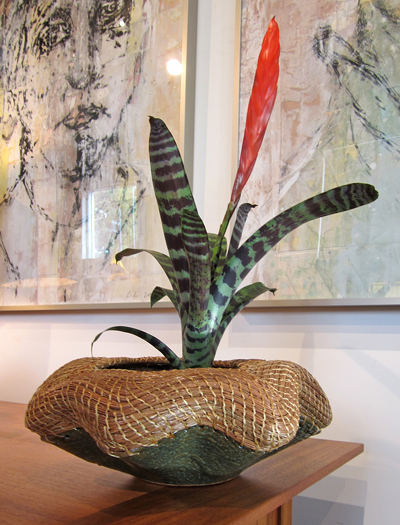 VIOLA KNUDSEN: 6 - Undulating Pine Needle Basket, ceramic base