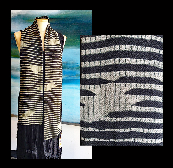 ANA LISA HEDSTROM: Scarf, Black/Tan