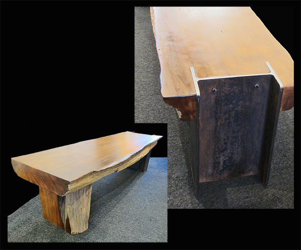 Western Red Cedar Bench with Steel I-Beam Leg