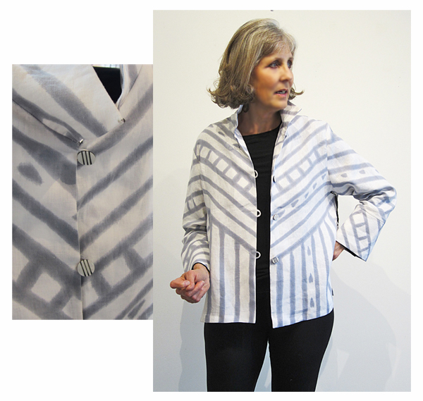 KAY CHAPMAN: Loop Button Jacket, Silk - Masai; White
