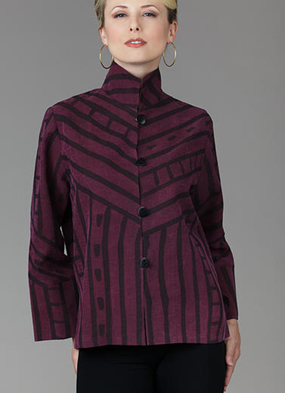 KAY CHAPMAN: Loop Button Jacket, Silk - Masai; Berry
