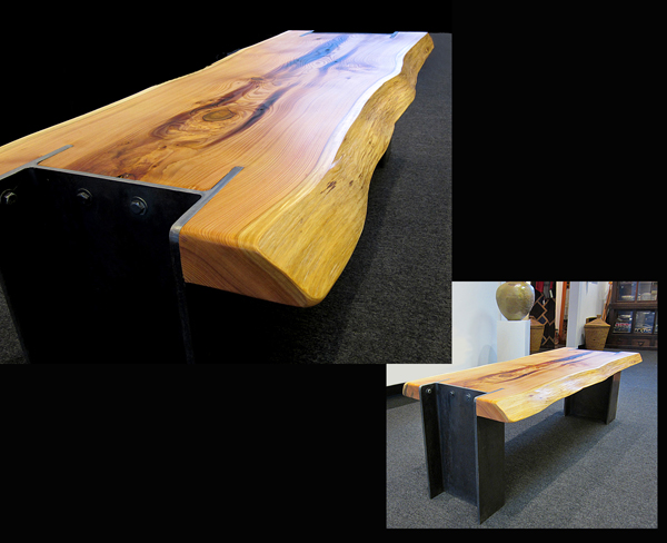 Cedar Bench With Steel I Beam Legs The Island Gallery