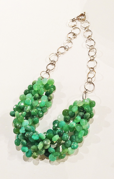 VIRGINIA PAQUETTE: Necklace: Chrysoprase, sterling silver