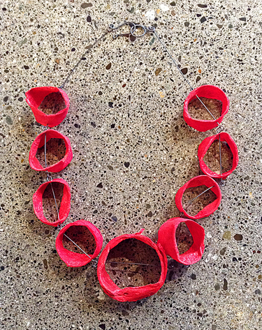 NANCY RAASCH: Joomchi Red Circles Necklace