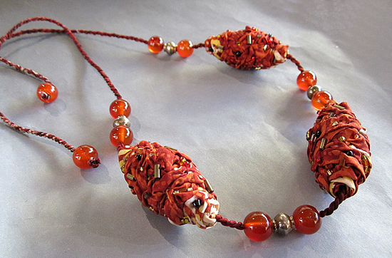ISNIA: Necklace, Silk Batik, Carnelian