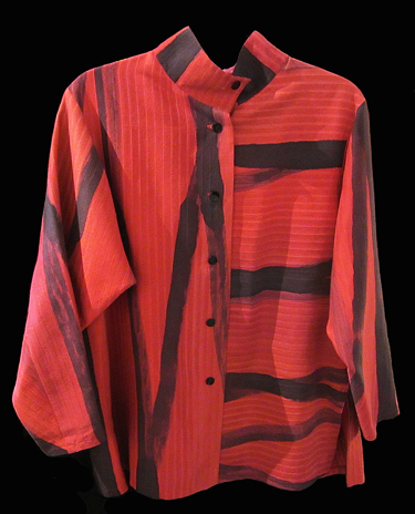 KAY CHAPMAN: Silk Jacket/Shirt, Red/Black