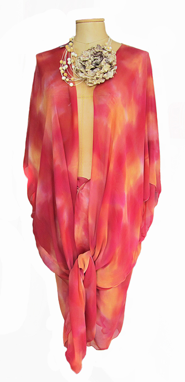 SANDRA HOLZMAN: Silk Topper, Long, Reds/Golds