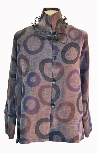 KAY CHAPMAN: Silk Shirt, Circles, Purple/Brown
