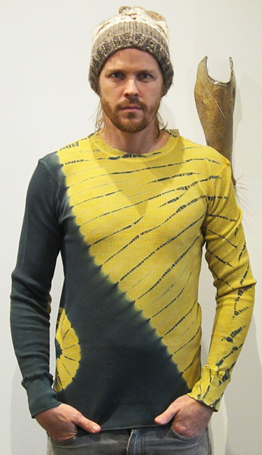 MARY JAEGER: Men's Waffle Weave Tee, green/mustard
